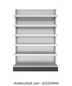 Empty Store Shelves Isolated. 3D rendering