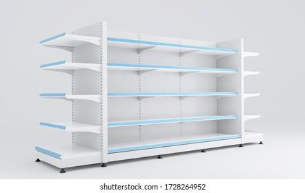 Empty store supermarket, food racks. 3d illustration. Blank retail shelf design, render. Store showcase mockup.