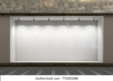 Empty store window at night.  Illuminated storefront showcase. 3d illustration