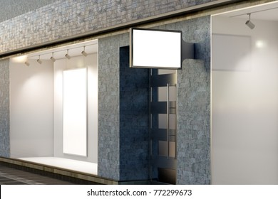 Empty store window, shop sign and entrance. Blank storefront showcase and signboard. 3d illustration
