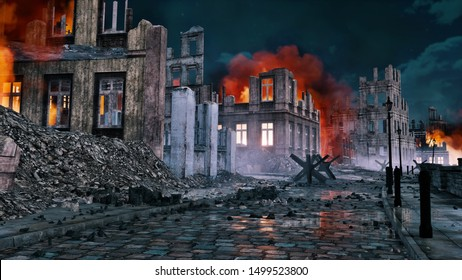 Empty street of destroyed after war old european city with burning building ruins and debris at night. With no people historical military 3D illustration.
