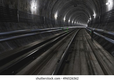 Empty Subway Tunnel. 3D illustration