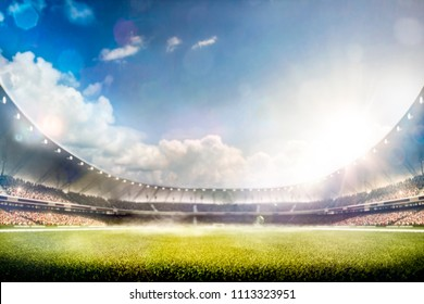 Empty sunset grand soccer arena in the lights 3d render