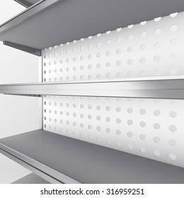 empty supermarket shelf in perspective