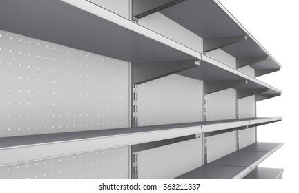 Empty supermarket shelf from perspective. 3D rendering