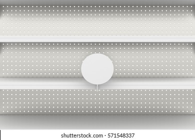 Empty supermarket shelves with blank label or wobbler isolated on white background.3d render