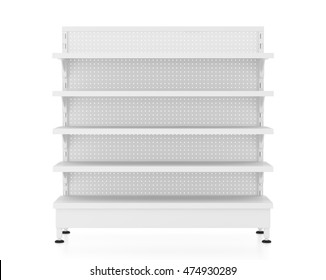 Empty supermarket shelves isolated on white background. Include clipping path. 3d render
