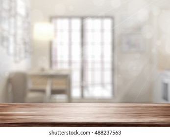 Empty tabletop. 3D rendering