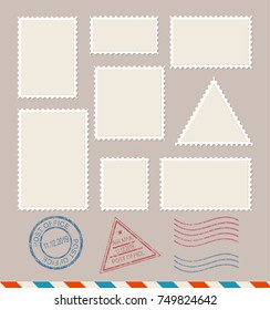 Empty Template Blank White Postage Stamps Set Paper Mark Symbol of Delivery Correspondence. illustration