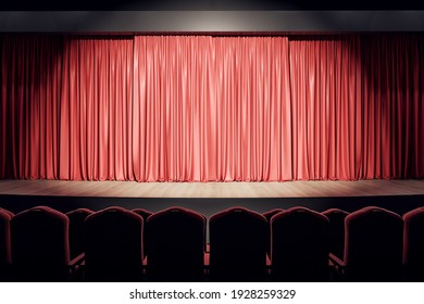 Empty theater hall with wooden stage, red curtains and row of seats. 3D rendering
