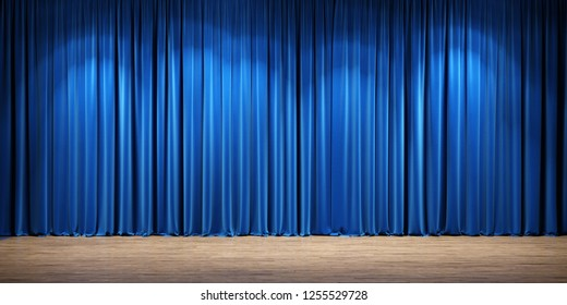 Empty theater stage with blue velvet curtains. 3d illustration