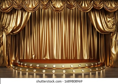 Empty theater stage with golden curtains. 3d illustration