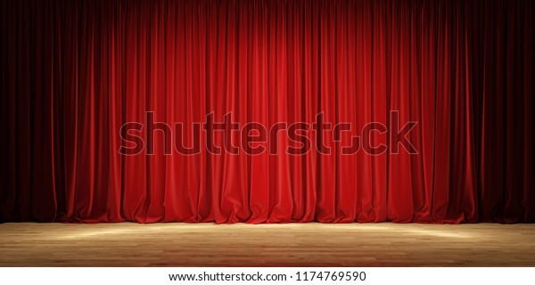 Luxury Scarlet Red Silk Velvet Curtains And Draperies Interior.. Royalty  Free Cliparts, Vectors, And Stock Illustration. Image 138637544.