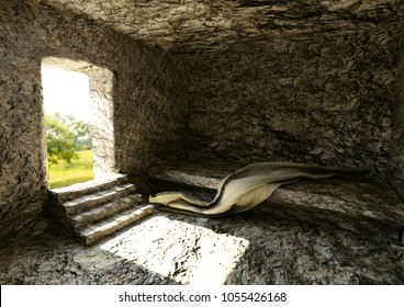 Empty Tomb - Crucifixion And Resurrection Of Jesus Christ, 3D Rendering