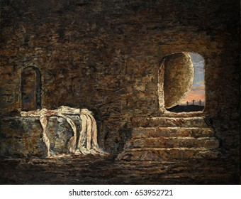 The empty tomb - oil painting on linen
