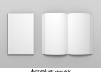 Empty top view 3D illustration of book mockup.