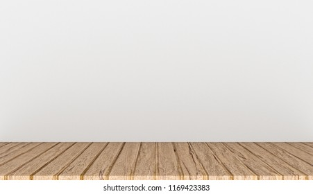 Empty top wooden table on white concrete background, 3D rendering