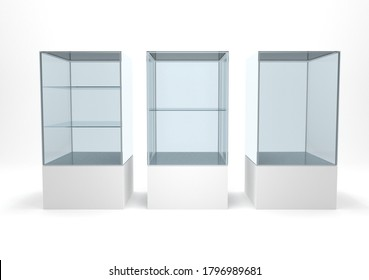 Empty transparent clear glasses showcase set for retail store or exhibition stand 3d rendering image. Commercial display advertisement furniture.