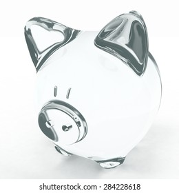 Empty transparent piggy bank isolated on white