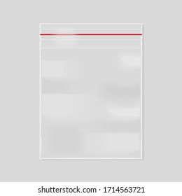 Empty transparent zipper bag isolated on a gray background. 3d rendering
