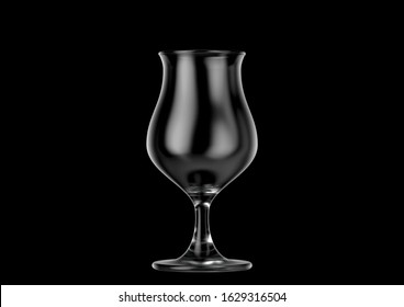 An empty tulip shaped beer glass an isolated dark background - 3D renders