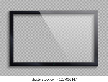 Empty tv frame with reflection and transparency screen isolated. Lcd monitor illustration