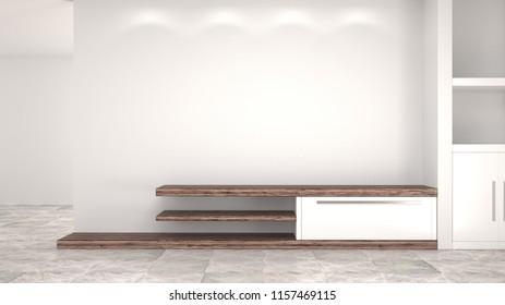 Empty TV shelf in the room before interior design 3d rendering room waiting for refurbishments