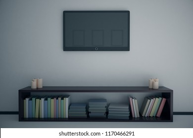 Empty TV and stand in contemporary bedroom interior. Mock up, 3D Rendering