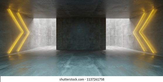 Empty Underground Concrete Corridor Room With Arrows Neon Orange Glowing Signs Empty Space 3D Rendering Illustration