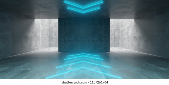 Empty Underground Concrete Corridor Room With Arrows Neon Blue Glowing Signs In Middle 3D Rendering Illustration