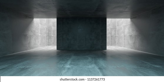 Empty Underground Concrete Corridor Room With Empty Space Wall In Middle 3D Rendering Illustration