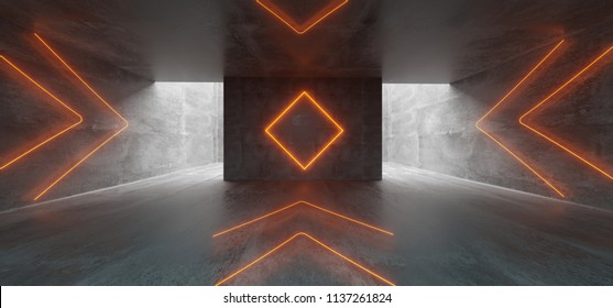 Empty Underground Concrete Corridor Room With Arrows Neon Orange Glowing And Neon Sign In Middle 3D Rendering Illustration