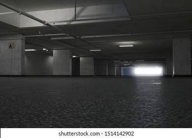 Empty underground parking. 3d render