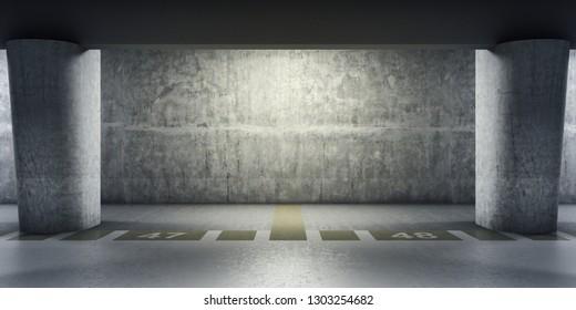 Empty underground parking area. 3D illustration.