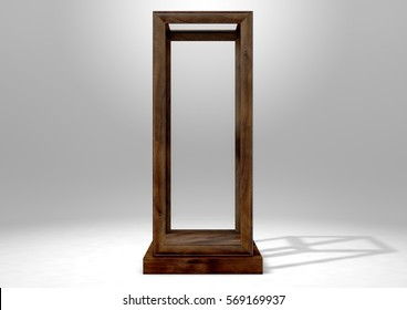 An Empty Verticle Glass Display Case With A Wooden Base And Frame On Isolated Studio