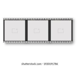 empty vintage 35mm frame or border on white background