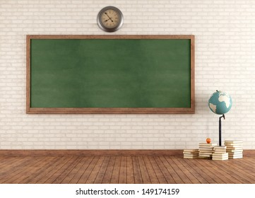 Empty vintage classroom with green blackboard against brick wall - rendering