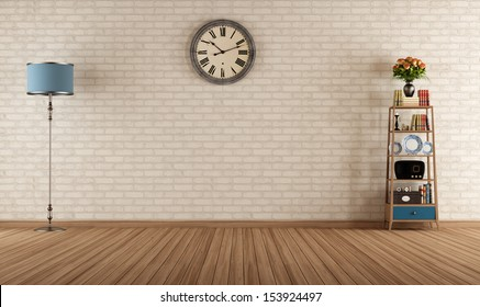 Empty vintage room with little bookshelves and brick wall - rendering