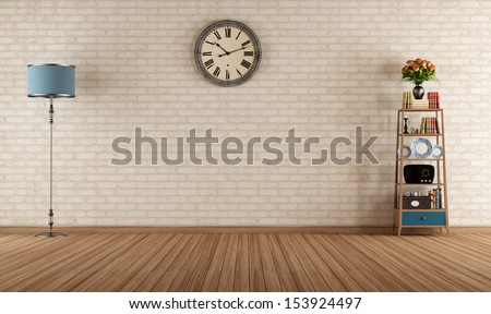 Empty vintage room with little bookshelves and brick <b>wall</b> - rendering