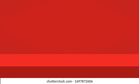 Empty vivid red color studio table room background, product display with copy space for display of content design. Banner for advertise product on website.