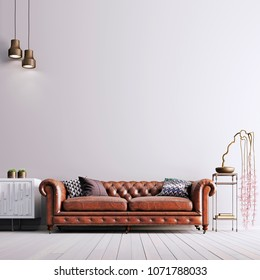 empty wall in classical style with leather sofa and plant. 3d render