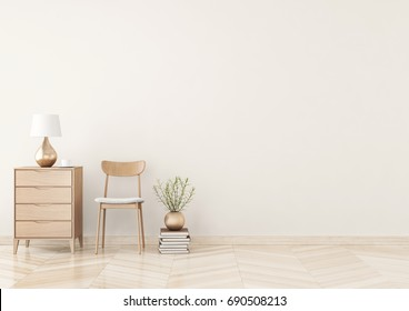 Empty wall mock up with chair, chest of drawers, lamp and plant in vase in warm beige living room interior. 3D rendering.