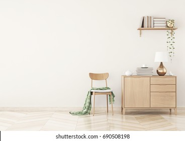 Empty wall mock up with chair, plaid, shelf with books and chest of drawers in warm beige living room interior. 3D rendering.