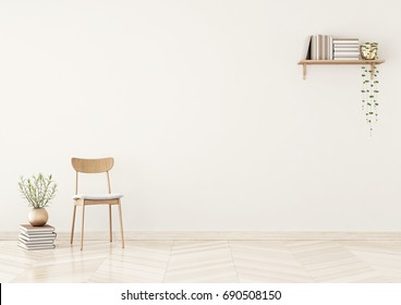 Empty wall mock up with chair, shelf with books and plant in vase in warm beige living room interior. 3D rendering.