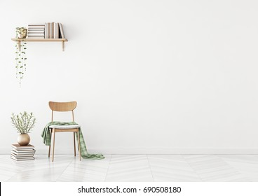 Empty wall mock up with chair, shelf with books and plant in vase in clean white living room interior. 3D rendering.