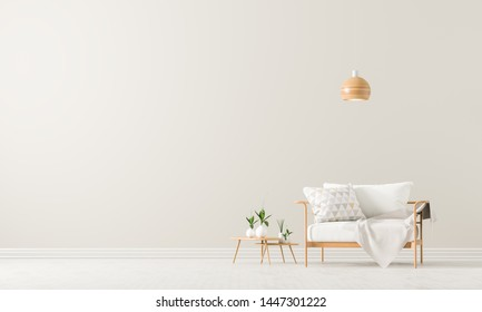 Empty wall mock up in Scandinavian style interior with armchair. Minimalist interior design. 3D illustration.