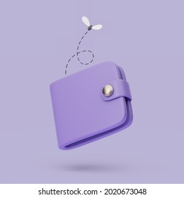 Empty wallet icon with fly. 3d simple render illustration on pastel background.