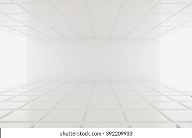 Empty walls in white interior with detailed ceiling and floor. Mock up, 3D Render