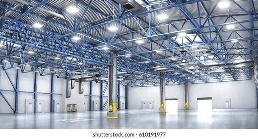 Empty warehouse. 3d illustration