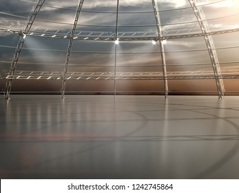 Empty warehouse dome exhibition space car stage scaffolding 3d illustration